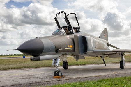 supersonic transport: WITTMUND, GERMANY- JUNE 29, 2013: German F-4 Phantom fighter jet after its last flight before decommisioned at Wittmund , Germany. The F-4 Phantom has flown 40 years with the German Air Force. Editorial