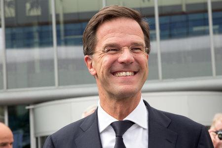 AMSTERDAM - APRIL 16, 2015: Dutch Prime Minister Mark Rutte attends the opening of the AutoRAI 2015.
