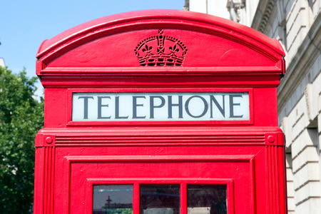 red telephone: Traditional red telephone box in London Stock Photo