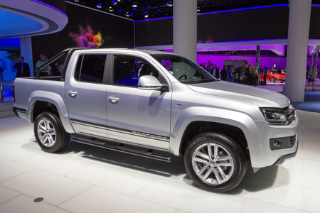 iaa: FRANKFURT, GERMANY - SEP 16, 2015: New Volkswagen Amarok Atacama special edition shown at the IAA 2015.