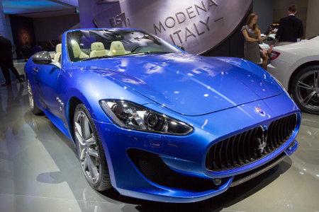 mc: FRANKFURT, GERMANY - SEP 16, 2015: Maserati GranTurismo MC Centennial Edition Coupe at the IAA 2015.