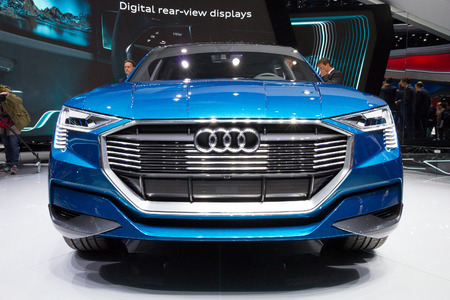 iaa: FRANKFURT, GERMANY - SEP 16, 2015: Audi e-tron Quattro concept car unveiled at the IAA 2015.