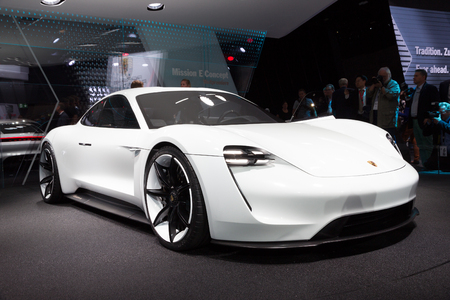 iaa: FRANKFURT, GERMANY - SEP 16, 2015: Porsche Mission E concept reveiled at the IAA 2015.