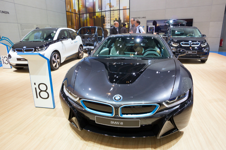 iaa: FRANKFURT, GERMANY - SEP 16, 2015: Hybrid Supersportler BMW i8 shown at the IAA 2015.