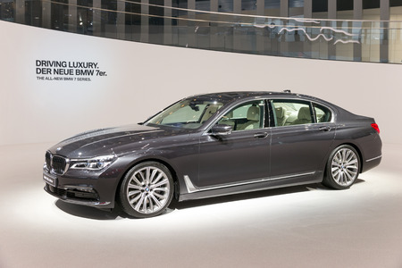 iaa: FRANKFURT, GERMANY - SEP 16, 2015: New BMW 750Li xDrive presented at the IAA 2015.
