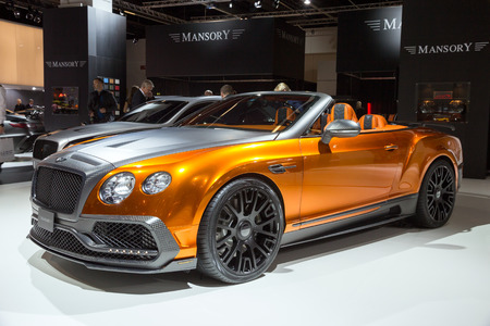 luxe: FRANKFURT, GERMANY - SEP 16, 2015: Mansory Bentley Continental GTC shown at the IAA 2015.