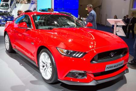 mustang gt: FRANKFURT, GERMANY - SEP 16, 2015: Ford Mustang GT 5.0  shown at the IAA 2015.