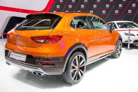 iaa: FRANKFURT, GERMANY - SEP 16, 2015: Premiere of the Seat Leon Cross Sport concept car at the IAA 2015.