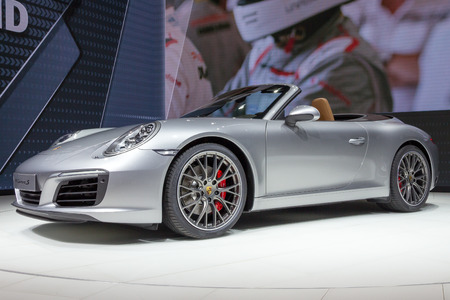 iaa: FRANKFURT, GERMANY - SEP 16, 2015: New 2016 Porsche 911 Carrera S unveiled at the IAA 2015.