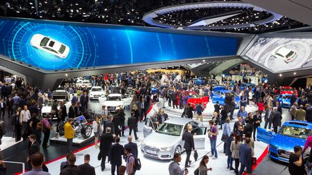 iaa: FRANKFURT, GERMANY - SEP 16, 2015: View in the Audi Hall during IAA 2015 motor show.