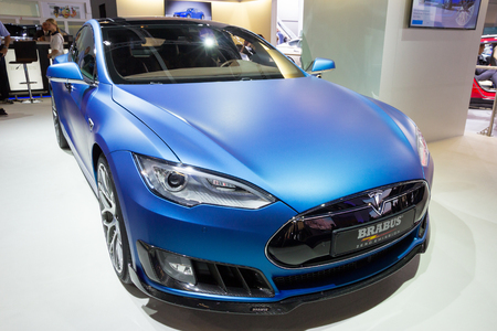 iaa: FRANKFURT, GERMANY - SEP 16, 2015: Brabus Tesla Model S shown at the IAA 2015.