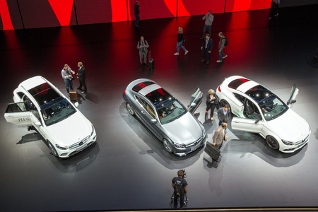 coupe: FRANKFURT, GERMANY - SEP 16, 2015: Mercedes-Benz GLC 350e, Mercedes-Benz C-Class Coupe and Mercedes-AMG C63 Coupe at the IAA 2015. Editorial