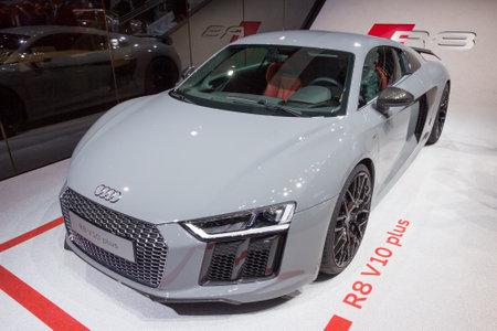 iaa: FRANKFURT, GERMANY - SEP 16, 2015: Audi R8 V10 Plus at the IAA 2015.