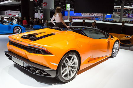 lamborghini: FRANKFURT, GERMANY - SEP 16, 2015: New 2016 Lamborghini Huracan LP610-4 Spyder reveiled at the IAA 2015.
