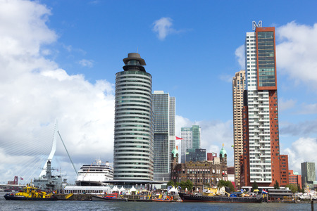 wilhelmina: ROTTERDAM, NETHERLANDS: SEP 5, 2015: View on the highrise of Rotterdam on the Wilhelmina Pier during the World Harbor Days.