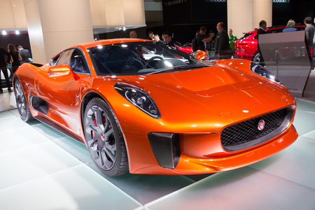 spectre: FRANKFURT, GERMANY - SEP 16, 2015: Jaguar C X75 Spectre 007 James Bond car unveiled at the IAA 2015.