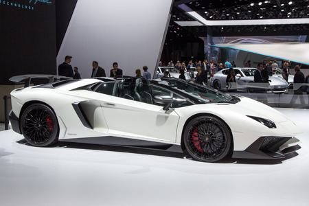 lamborghini: FRANKFURT, GERMANY - SEP 16, 2015: Lamborghini Aventador LP 750-4 SuperVeloce at the IAA 2015.