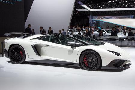 iaa: FRANKFURT, GERMANY - SEP 16, 2015: Lamborghini Aventador LP 750-4 SuperVeloce at the IAA 2015.