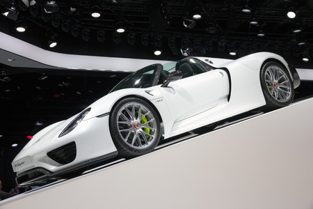 iaa: FRANKFURT, GERMANY - SEP 16, 2015: Porsche 918 Spyder presented at the IAA 2015. Editorial