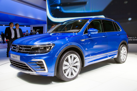 iaa: FRANKFURT, GERMANY - SEP 16, 2015: New Volkswagen Tiguan GTE presented at the IAA 2015.