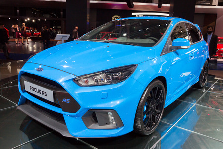 iaa: FRANKFURT, GERMANY - SEP 16, 2015: New 2016 Ford Focus RS showcased at the IAA 2015.
