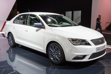 iaa: FRANKFURT, GERMANY - SEP 16, 2015: New Seat Toledo Connect premiere at the IAA 2015.