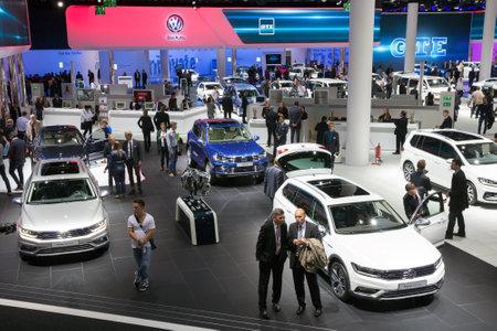 motor cars: FRANKFURT, GERMANY - SEP 16, 2015: New Volkswagen cars shown during IAA 2015 motor show. Editorial