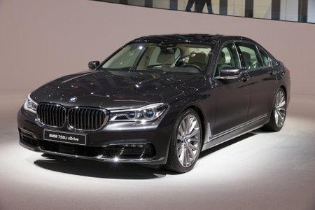 iaa: FRANKFURT, GERMANY - SEP 16, 2015: New BMW 750Li xDrive presented at the IAA 2015.