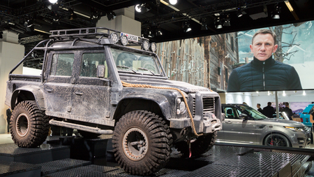 james: FRANKFURT, GERMANY - SEP 16, 2015: Land Rover Defender at the IAA 2015.  This Land Rover is used in the new James Bond Spectre movie.