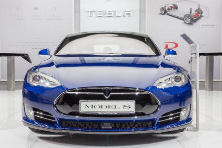iaa: FRANKFURT, GERMANY - SEP 16, 2015: European debut of the Tesla model S P90D at the IAA 2015.