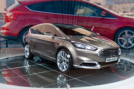 motor show: FRANKFURT, GERMANY - SEP 13: Ford S-Max Concept at the IAA motor show on Sep 13, 2013 in Frankfurt. More than 1.000 exhibitors from 35 countries are present at the worlds largest motor show.