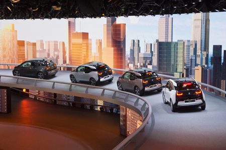 i3: FRANKFURT, GERMANY - SEP 13: BMW i3s at the IAA motor show on Sep 13, 2013 in Frankfurt. More than 1.000 exhibitors from 35 countries are present at the worlds largest motor show.