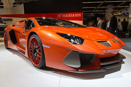 iaa: FRANKFURT, GERMANY - SEP 13: Lamborghini Aventador Hamann Nervudo at the IAA motor show on Sep 13, 2013 in Frankfurt. More than 1.000 exhibitors from 35 countries are present at the worlds largest motor show.