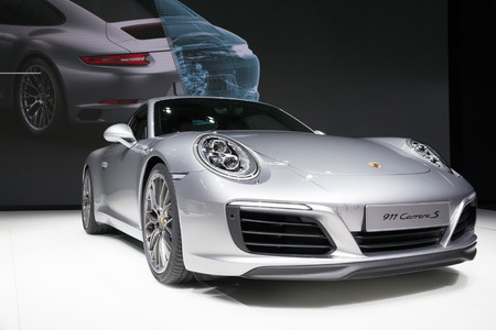 iaa: FRANKFURT, GERMANY - SEP 16, 2015: New 2016 Porsche 911 Carrera S presented at the IAA 2015.