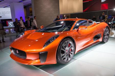 james: FRANKFURT, GERMANY - SEP 16, 2015: Jaguar C X75 Spectre 007 James Bond car unveiled at the IAA 2015.