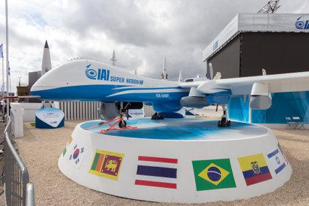bird of israel: PARIS-LE BOURGET - JUN 18, 2015: IAI Super Heron heavy fuel multi-role unmanned aerial vehicle (UAV) on display at the 51st International Paris Air show