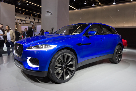 motorshow: FRANKFURT, GERMANY - SEP 13: Jaguar C-X17 at the IAA motor show on Sep 13, 2013 in Frankfurt. More than 1.000 exhibitors from 35 countries are present at the worlds largest motor show.