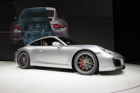 carrera: FRANKFURT, GERMANY - SEP 16, 2015: New 2016 Porsche 911 Carrera S presented at the IAA 2015.