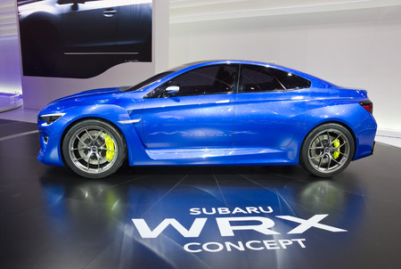motor show: FRANKFURT, GERMANY - SEP 13: Subaru WRX concept car at the IAA motor show on Sep 13, 2013 in Frankfurt. More than 1.000 exhibitors from 35 countries are present at the worlds largest motor show. Editorial