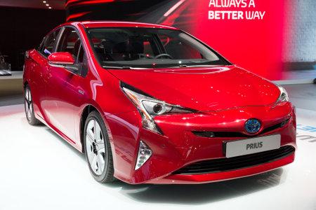 iaa: FRANKFURT, GERMANY - SEP 16, 2015: World premiere of the new Toyota Prius Hybrid car at the IAA 2015.