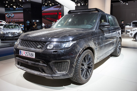 spectre: FRANKFURT, GERMANY - SEP 16, 2015: Range Rover Sport SVR used in the new James Bond´ Spectre movie, shown at the IAA 2015.