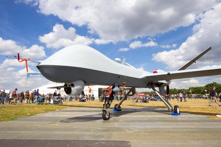 predator: VOLKEL, NETHERLANDS - JUN 15, 2013: Predator UAV on display at the Royal Netherlands Air Force Open Day.