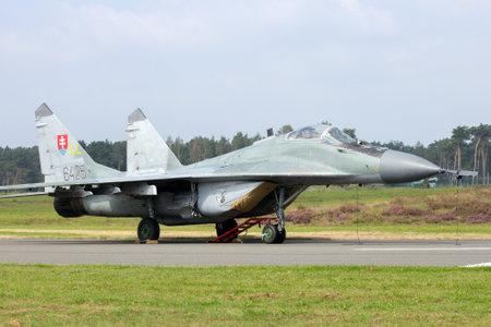 fulcrum: KLEINE BROGEL, BELGIUM - SEP 13, 2014: Slovak Air Force MiG-29 Fulcrum.