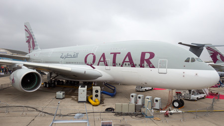airways: PARIS - JUN 18, 2015: Airbus A380 from Qatar Airways. The A380 is the largest passenger airliner in the world. Editorial