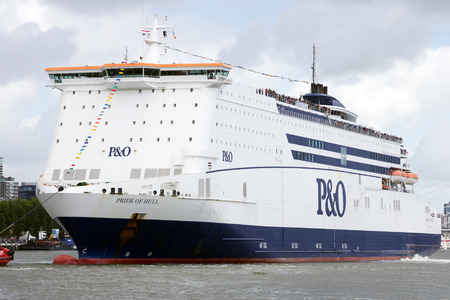 ferries: ROTTERDAM, NETHERLANDS - SEP 5, 2015: PO Ferries MS Pride of Hull passenger and cargo ship in Rotterdam during the World Harbor Days. Editorial