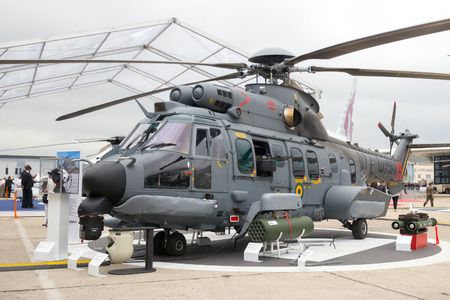 PARIS - JUN 18, 2015: New Brazilian Navy Eurocopter Helibras UH-15A Super Cougar on display during the Paris Air Show.