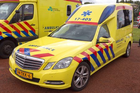 ROTTERDAM, NETHERLANDS: SEP 5, 2015: Dutch Mercedes-Benz E-Klasse Ambulance of Region Rotterdam-Rijnmond. Editorial