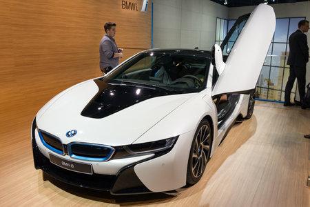 plugin: FRANKFURT, GERMANY - SEP 16, 2015: BMW i8 plug-in hybrid sports car shown at the IAA 2015.
