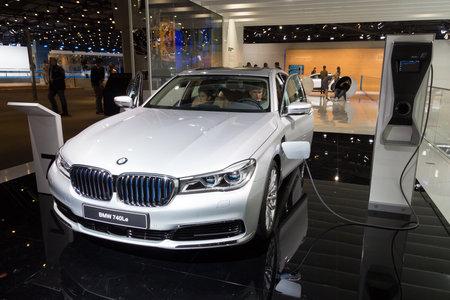iaa: FRANKFURT, GERMANY - SEP 16, 2015: BMW 740Le plug-in hybrid shown at the IAA 2015.