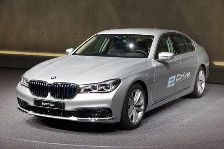iaa: FRANKFURT, GERMANY - SEP 16, 2015: BMW 740e shown at the IAA 2015. Editorial